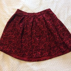 Red and Black Patterned Skirt